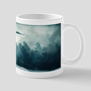 Blue Ocean Ship Storm Clouds Mugs