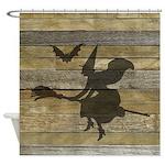 Halloween Witch Broom Bat Shower Curtain