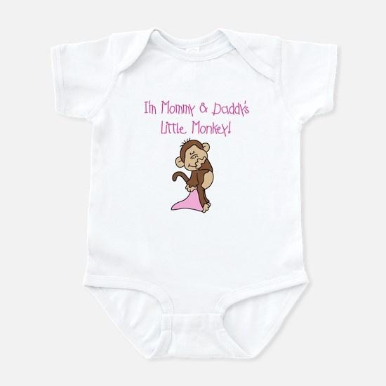 Mommy, Daddy Monkey(pink) Infant Bodysuit