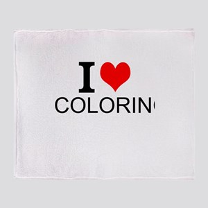 I Love Coloring Throw Blanket