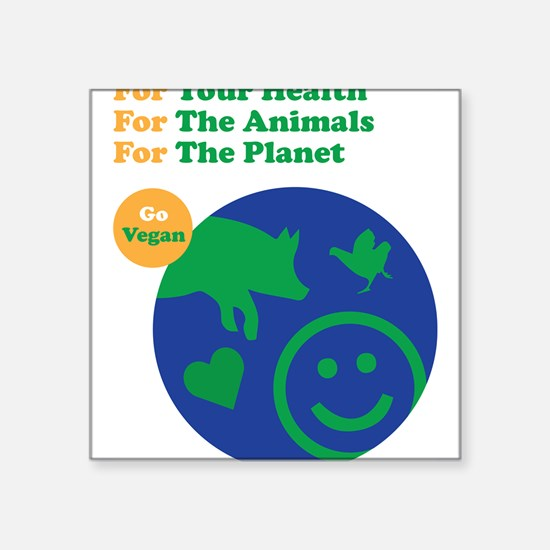 "Cute Vegan for environment Square Sticker 3"" x 3"""