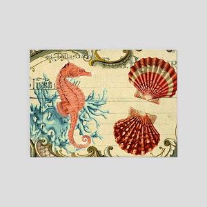 romantic seashells shabby chic 5'x7'Area Rug