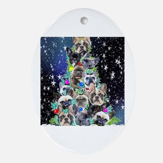 Unique French bulldog christmas Oval Ornament