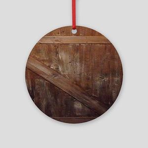 primitive farmhouse barn wood Round Ornament
