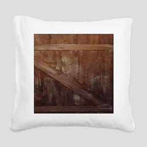 primitive farmhouse barn wood Square Canvas Pillow