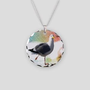 beach nautical watercolor se Necklace Circle Charm