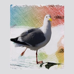 beach nautical watercolor seagull Throw Blanket