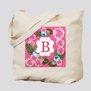 Letter B Watercolor Rose Monogram Tote Bag