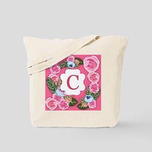 Letter C Watercolor Rose Monogram Tote Bag