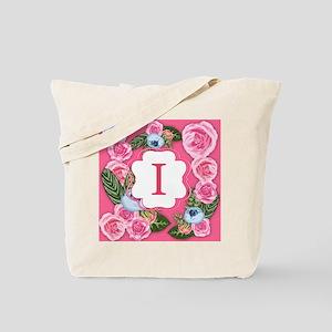 Letter I Monogram Watercolor Roses Tote Bag