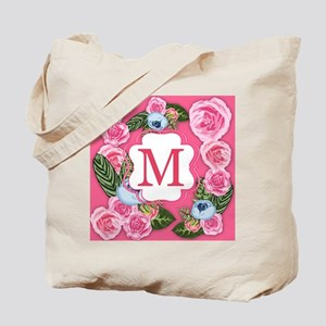 Letter M Monogram Watercolor Roses Tote Bag