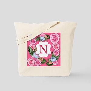 Letter N Monogram Watercolor Roses Tote Bag