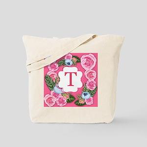 Initial T Monogram Watercolor Roses Tote Bag