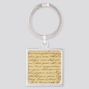 shabby chic french script  Square Keychain