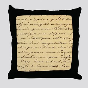 shabby chic french script  Throw Pillow