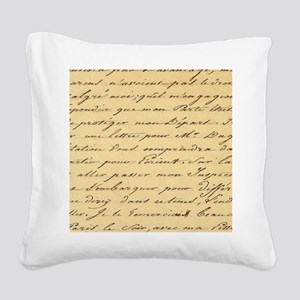 shabby chic french script  Square Canvas Pillow
