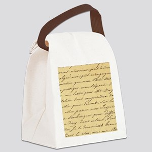 shabby chic french script  Canvas Lunch Bag
