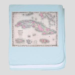Vintage Map of Cuba (1861) baby blanket
