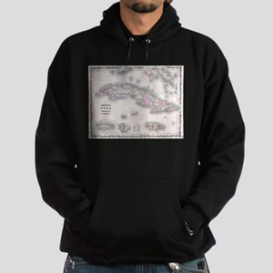 Vintage Map of Cuba (1861) Hoodie (dark)