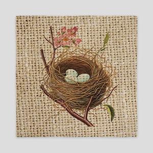 modern vintage bird nest Queen Duvet