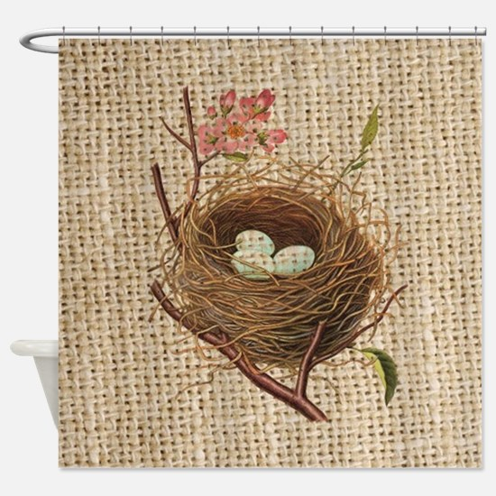 modern vintage bird nest Shower Curtain