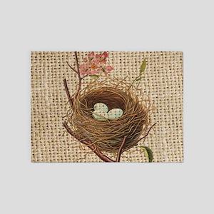 burlap modern vintage bird nest 5'x7'Area Rug
