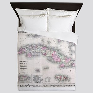 Vintage Map of Cuba (1861) Queen Duvet