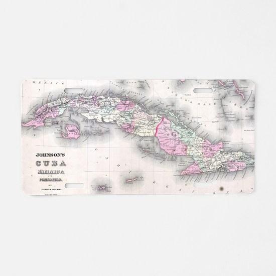 Vintage Map of Cuba (1861) Aluminum License Plate