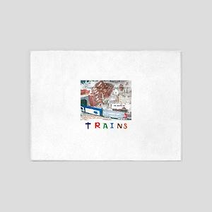 TRAINS NORTHLANDZ STAR. 5'x7'Area Rug