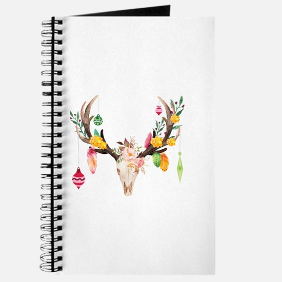 Christmas Deer Skull With Ornaments Journal