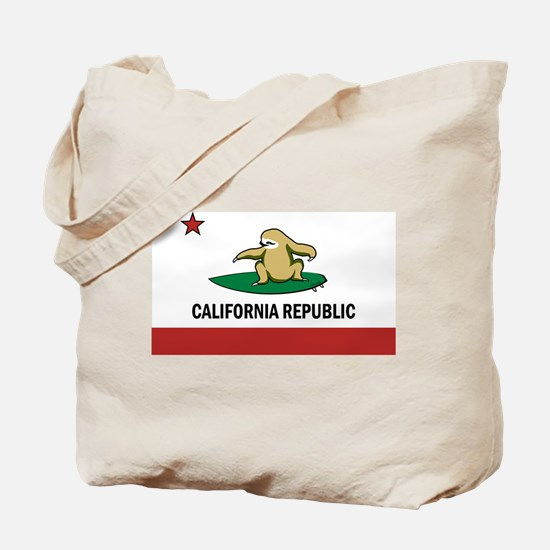 Surfing Cali Sloth Tote Bag