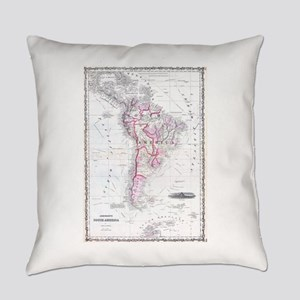 Vintage Map of South America (1861 Everyday Pillow