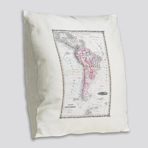 Vintage Map of South America ( Burlap Throw Pillow