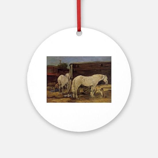 Eugene Boudin - Gypsy Horses Round Ornament