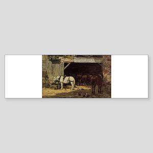 Eugene Boudin - Horses for Hire in Bumper Sticker
