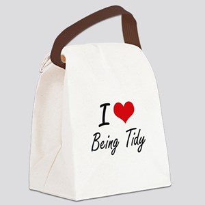 I love Being Tidy Artistic Design Canvas Lunch Bag
