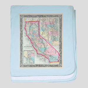 Vintage Map of California (1860) baby blanket