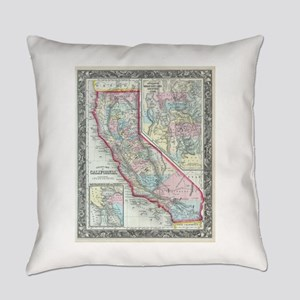 Vintage Map of California (1860) Everyday Pillow