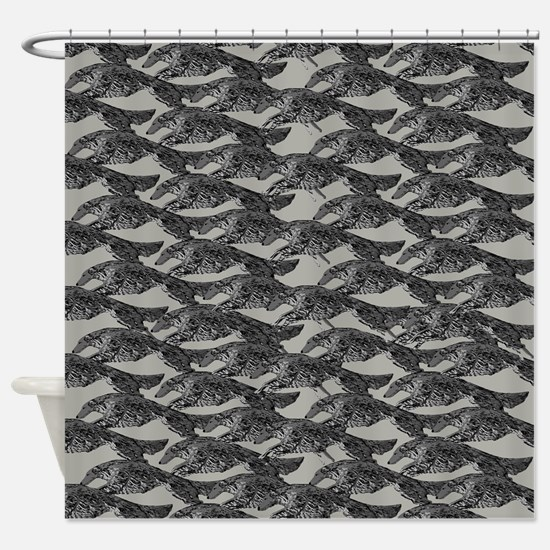 Leaping Borzoi Shower Curtain Pewter