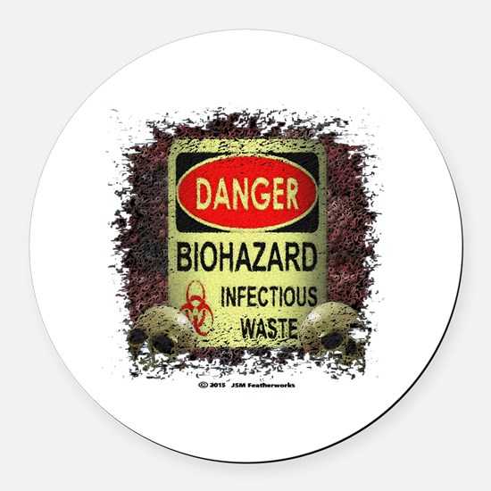 INFECTIOUS WASTE Round Car Magnet