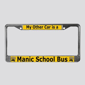 Manic SChool Bus License Plate Frame
