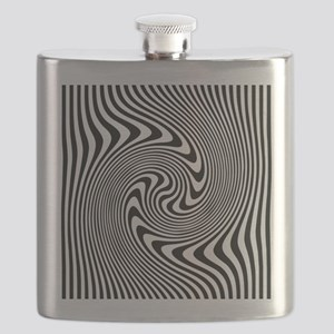 Black and White Op Art Twirl Flask