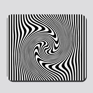 Black and White Op Art Twirl Mousepad