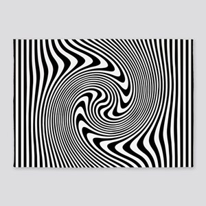 Black and White Op Art Twirl 5'x7'Area Rug