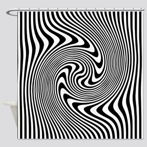 Black and White Op Art Twirl Shower Curtain