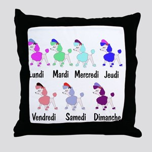 French Poodle Days Throw Pillow