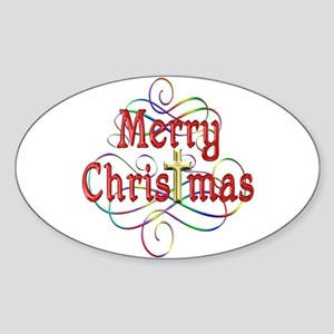 Merry Christmas Cross and Swirls Sticker