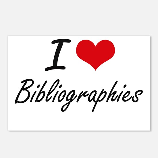 I Love Bibliographies Art Postcards (Package of 8)