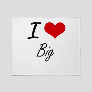 I Love Big Artistic Design Throw Blanket
