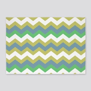 Sage Blue and White Zigzags 5'x7'Area Rug